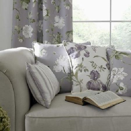 Ashley Wilde -  Secret Garden Fabric Collection - Cream and grey floral cushions and striped cushion