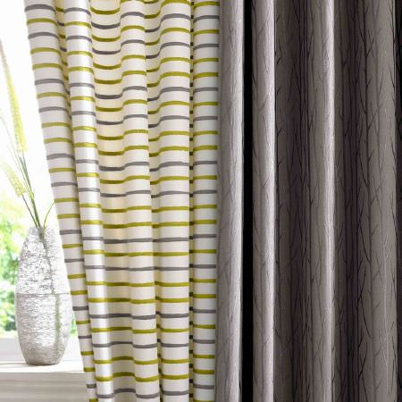 Ashley Wilde -  Serene Fabric Collection - White curtains with lime green and grey narrow stripes, and a modern grey curtain with tree branch impressions