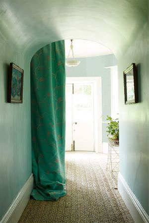 Barneby Gates -  Barneby Gates Fabric Collection - Vibrant green curtain from the Barneby Gates Fabric Collection decorated with a barely visible beige pattern