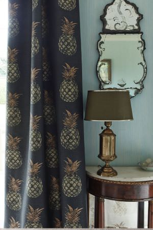 Barneby Gates -  Barneby Gates Fabric Collection - Interesting curtain dyed in dark shade of blue decorated with a creative pattern of pineapples