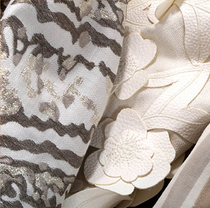 Beacon Hill -  Ankasa Besposke Fabric Collection - Off-white fabric with a 3D textured appliqué floral design, with abstract patterned silver, grey and white fabric