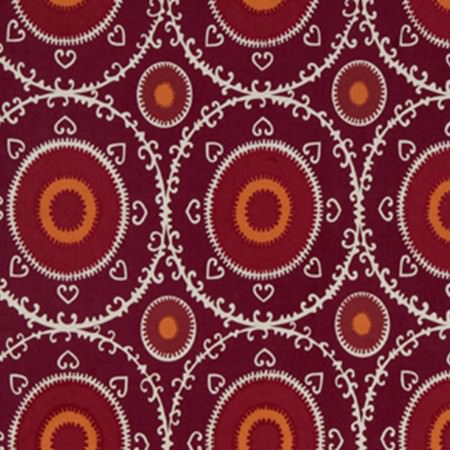 Beacon Hill -  Linen Ikats and Suzanis Fabric Collection - White and deep marroon, burgundy and pumpkin orange shades creating a pretty, repeated circular pattern on fabric