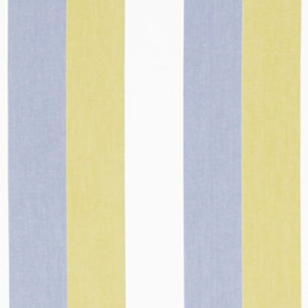 Beacon Hill -  Linen Wide Stripes Fabric Collection - Pale shades of chalk white, latte and powder blue making up a regular, wide vertical stripe design on fabric