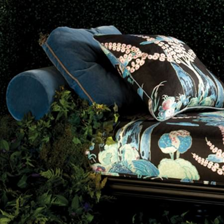 Beacon Hill -  Midnight Garden Fabric Collection - Chaise longue with denim blue scatter and bolster cushions, and black and blue floral patterned cushion and seat covers