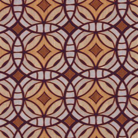 Beacon Hill -  Modern Silk I Fabric Collection - Circular geometric pattern printed repeatedly on fabric in cream, beige, light brown, aubergine and pale grey shades