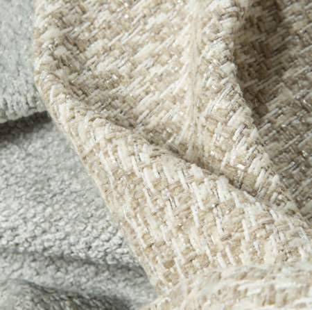 Beacon Hill -  Plush Boucle Solids Fabric Collection - Thick, textured bouclé style fabric in two colourways: pale grey, and white with pale brown