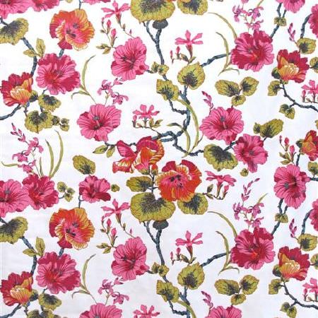 Bernard Thorp -  Azur Joy Fabric Collection - Bright shades of pink and green making up a beautiful floral design on plain white fabric