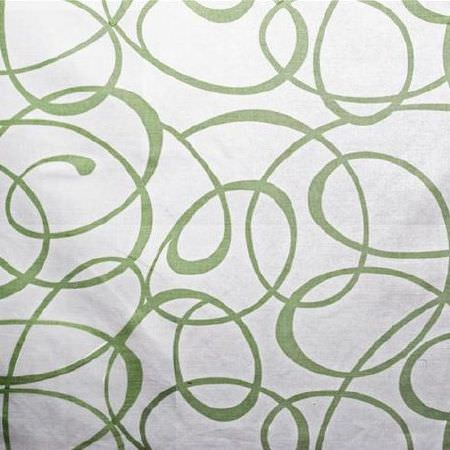 Bernard Thorp -  Bel Air Fabric Collection - Swirling, curving, overlapping jade green coloured lines printed on a plain white fabric background