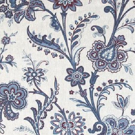 Bernard Thorp -  Lambourne Fabric Collection - Pretty paisley style leaves and flowers printed on white fabric in shades of mauve and denim blue