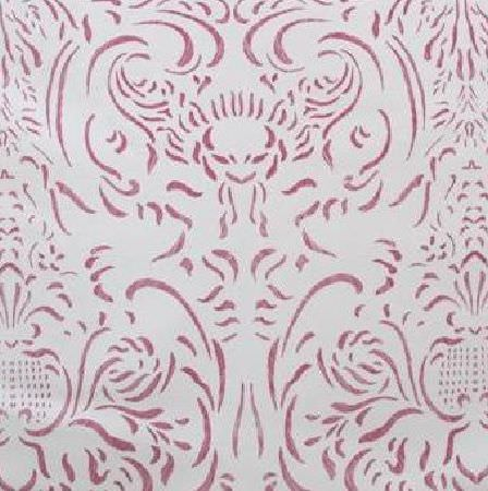 Bernard Thorp -  Petersburg Fabric Collection - Short, curving, dark pink coloured lines creating a subtle but ornate pattern on very pale pink-white coloured fabric