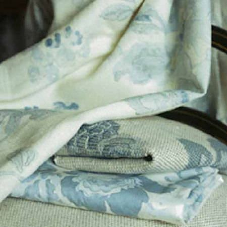 Blithfield -  Collection II Fabric Collection - Folds and drapes of four different fabrics, all made with large floral patterns in light shades of blue, grey and off-white