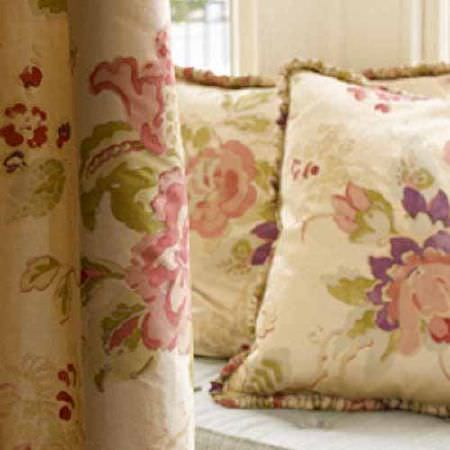 Blithfield -  Collection II Fabric Collection - Light shades of pink, purple, green and cream making up vintage inspired floral patterned curtains and two cushions