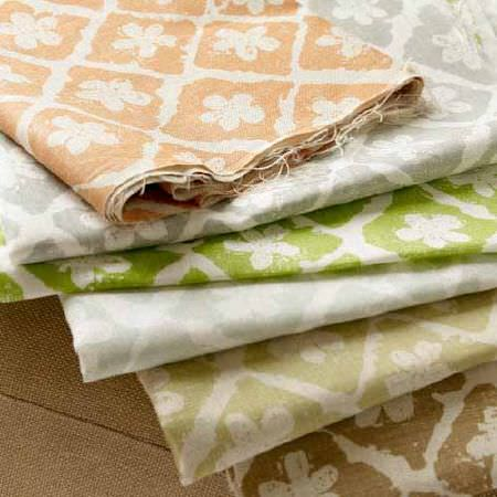 Blithfield -  Collection III Fabric Collection - Salmon pink, ash grey, apple green, pale grey, beige, light brown and white patterns printed on six folds of fabric
