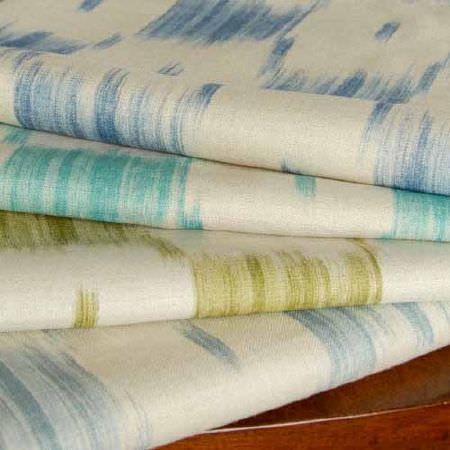 Blithfield -  Collection IV Fabric Collection - Denim blue, aquamarine, olive green and light blue-grey coloured streaks printed on four neat folds of white fabric