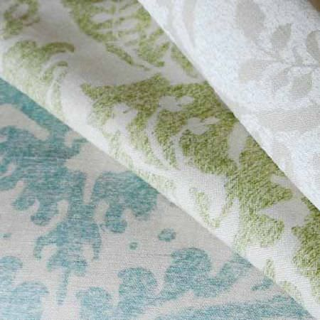 Blithfield -  Collection IV Fabric Collection - Three folds of white fabric, each printed with a pattern in either light grey, forest green or sky blue