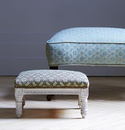 Blithfield -  Langham Fabric Collection - A grey and pale green padded footstool with white carved legs, with a baby blue patterned padded footstool with dark legs