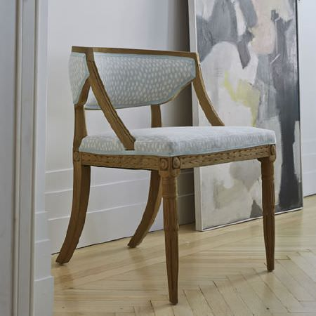 Blithfield -  Somerton Fabric Collection - Rustic wooden armchair with carved frame and padded seat and back cushions covered in patterned pale blue and white fabric