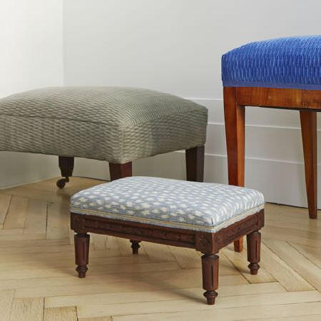 Blithfield -  Somerton Fabric Collection - Three different padded wooden footstools covered with patterned fabrics in Royal blue, light grey, and baby blue and white