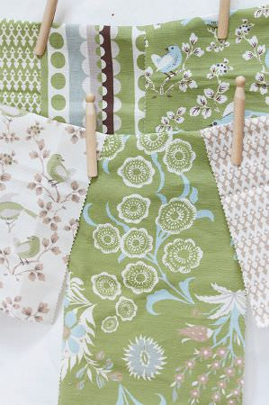 Charlotte Gaisford -  Summer Tea Fabric Collection - Green fabrics with white floral pattern and white fabrics featuring interesting floral and bird patterns