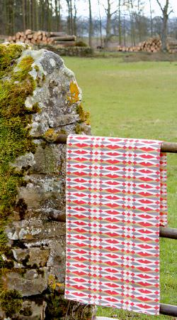 Charlotte Gaisford -  Summer Tea Fabric Collection - Sample from the Summer Tea Fabric collection decorated with a pattern of diamonds in red, white and grey
