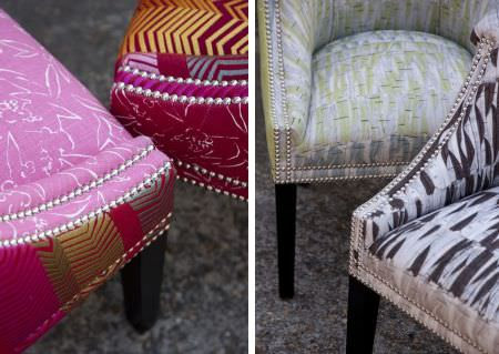 Christopher Farr -  Printed Indoor Fabric Collection - Four padded tub chairs covered with various patterns in colours such as light and dark pinks, gold, silver, grey and green