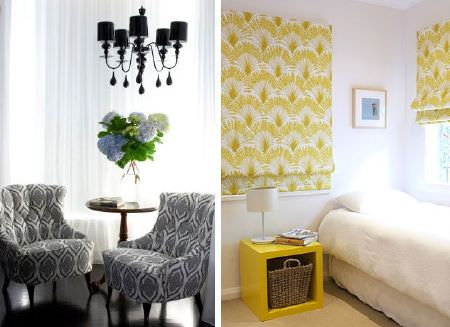 Christopher Farr -  Printed Indoor Fabric Collection - Grey and white patterned chairs, a round table, a black chandelier, a white bed, a yellow table, patterned blinds, a lamp