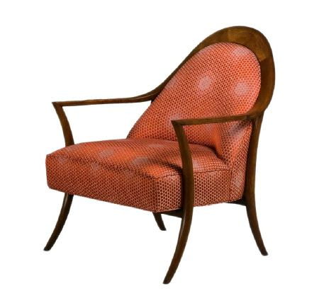 Christopher Farr -  Woven Indoor Fabric Collection - Subtly patterned orange-red smal tub-style chair fitted with a wooden frame, armrests and legs made in dark brown wood