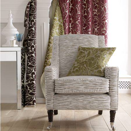 Clarke and Clarke -  Academy Velvets Fabric Collection - Cushion, curtain and upholstered chair in floral and zebra patterned velvet fabrics
