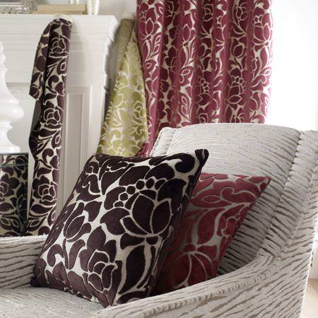 Clarke and Clarke -  Academy Velvets Fabric Collection - Pink and brown modern floral patterned velvet cushions and curtain
