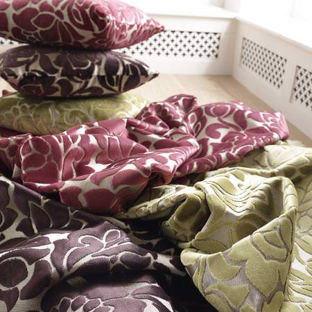 Clarke and Clarke -  Academy Velvets Fabric Collection - Pink, brown and green velvet fabrics and cushions with modern flower design