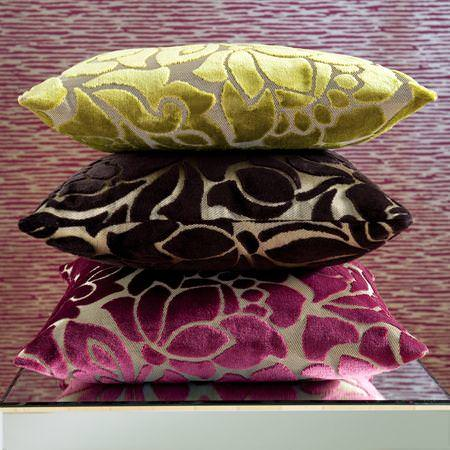 Clarke and Clarke -  Academy Velvets Fabric Collection - Pink, brown and green modern floral velvet cushions