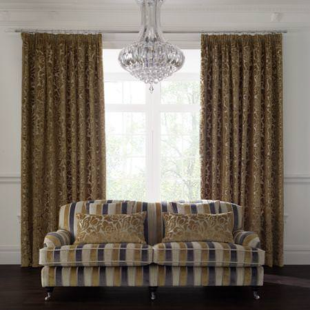 Clarke and Clarke -  Academy Velvets Fabric Collection - Mustard yellow floral velvet curtains and cushions, and striped velvet sofa