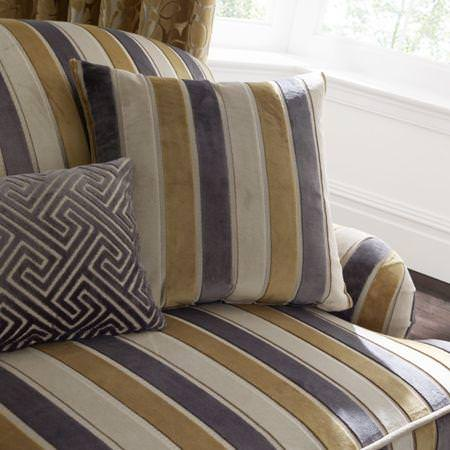 Clarke and Clarke -  Academy Velvets Fabric Collection - Yellow and brown striped velvet sofa with patterned velvet cushion