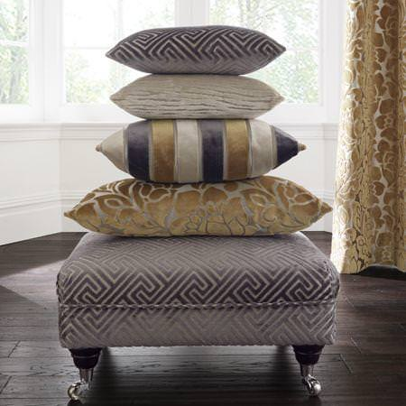 Clarke and Clarke -  Academy Velvets Fabric Collection - Brown, yellow and neutral velvet patterned cushions and pouffe