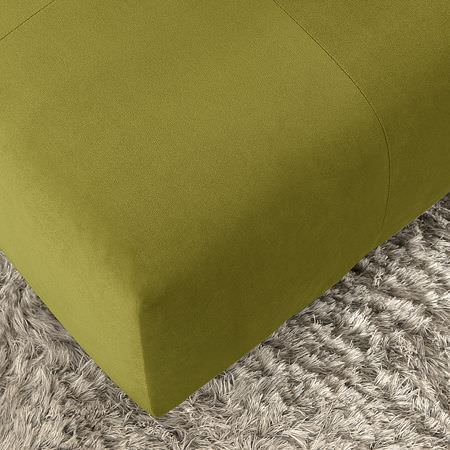 Clarke and Clarke -  Altea Fabric Collection - Pale grey fluffy rug with a green suede effect cube footstool