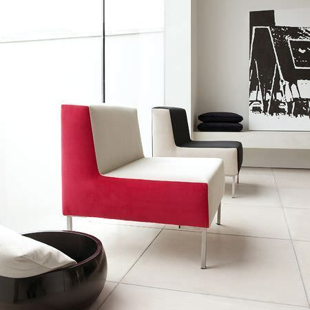 Clarke and Clarke -  Altea Fabric Collection - One white square padded chair with red sides, one chair in the same style but black with white sides, black cushions and a large wood bowl