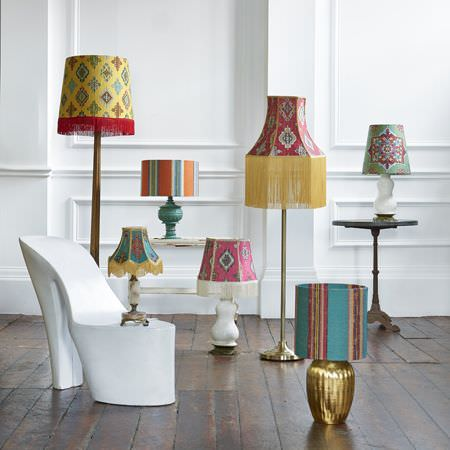 Clarke and Clarke -  Anatolia Fabric Collection - 7 floor and table lamps with stunning striped, patterned and fringed shadesin red, orange, yellow, pink, blue and green