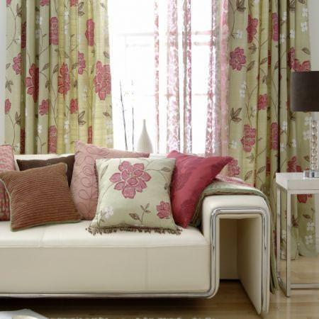 Clarke and Clarke -  Arcadia Fabric Collection - Cream and pink silk floral pattern curtains with various pink and brown cushions