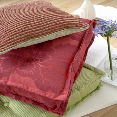 Clarke and Clarke -  Arcadia Fabric Collection - Red and green floral and striped seat cushions