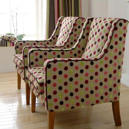 Clarke and Clarke -  Arcadia Fabric Collection - Multicolour spotted beige upholstered armchairs