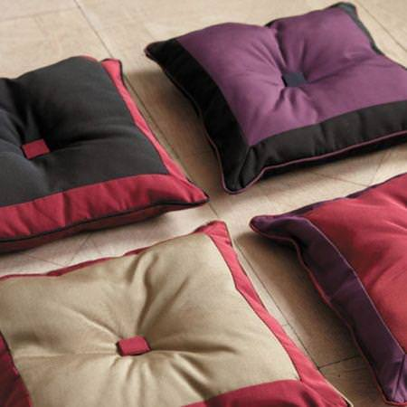 Clarke and Clarke -  Aruba Fabric Collection - Red, black and purple upholstered square cushions