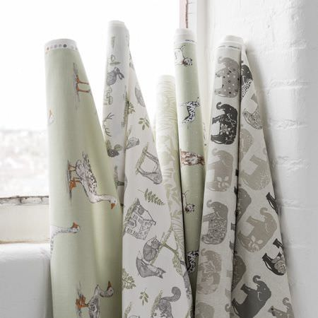 Clarke and Clarke -  Blighty Fabric Collection - 5 bolts of fabricfeaturing woodland themes, patterns, geese, elephants and dogs in white and light shades of grey and green