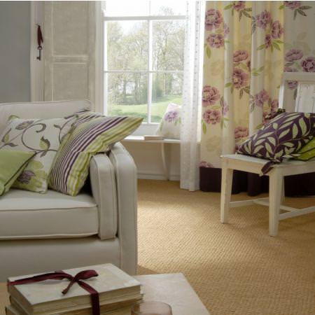 Clarke and Clarke -  Boheme Fabric Collection - Cream floral curtain with purple and green modern leaf printed and striped cushions