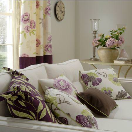 Clarke and Clarke -  Boheme Fabric Collection - Cream curtains and cushions with purple and green flower and leaf patterns