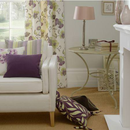 Clarke and Clarke -  Boheme Fabric Collection - Green and purple flower print cream curtain with matching cushions