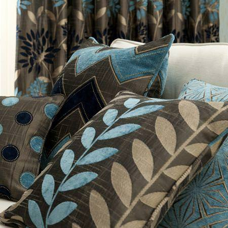 Clarke and Clarke -  Bolero Fabric Collection - Brown and blue jacquard cushions with spot, zigzag and leaf print patterns