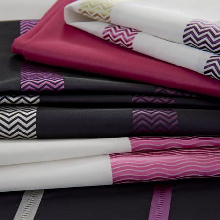 Clarke and Clarke -  Boutique Fabric Collection - Fabric from the Boutique fabric collection, in white and dark purple with herringbone stripes in pink and white