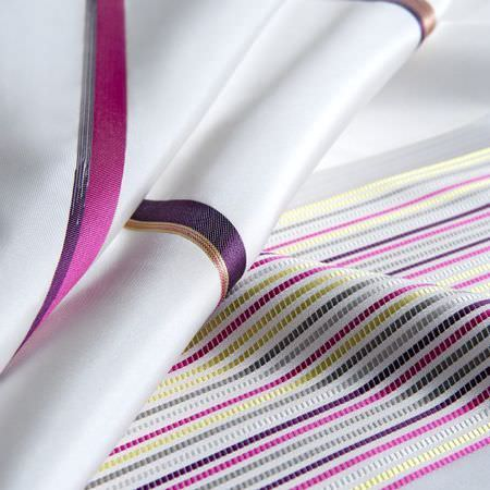 Clarke and Clarke -  Boutique Fabric Collection - Classy white fabrics with narrow and wide spaced pink and purple stripes from the Boutique fabric collection