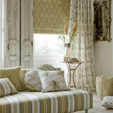 Clarke and Clarke -  Bukhara Fabric Collection - Cream and yellow floral curtain, patterned roman blind and various cushions