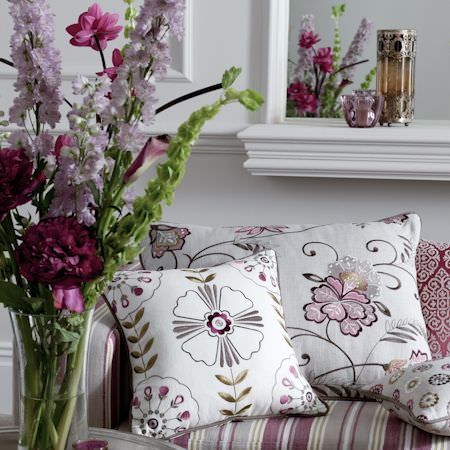 Clarke and Clarke -  Bukhara Fabric Collection - White cushions with purple floral outline print